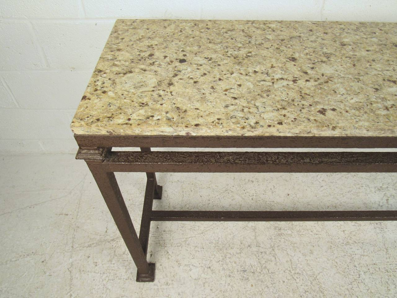 15 Entrance Hall Table Styles To Marvel At: Industrial Modern Marble-Top Console Table At 1stdibs