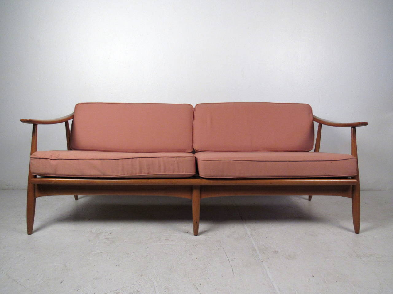 Mid Century Modern Vintage Walnut Sofa For