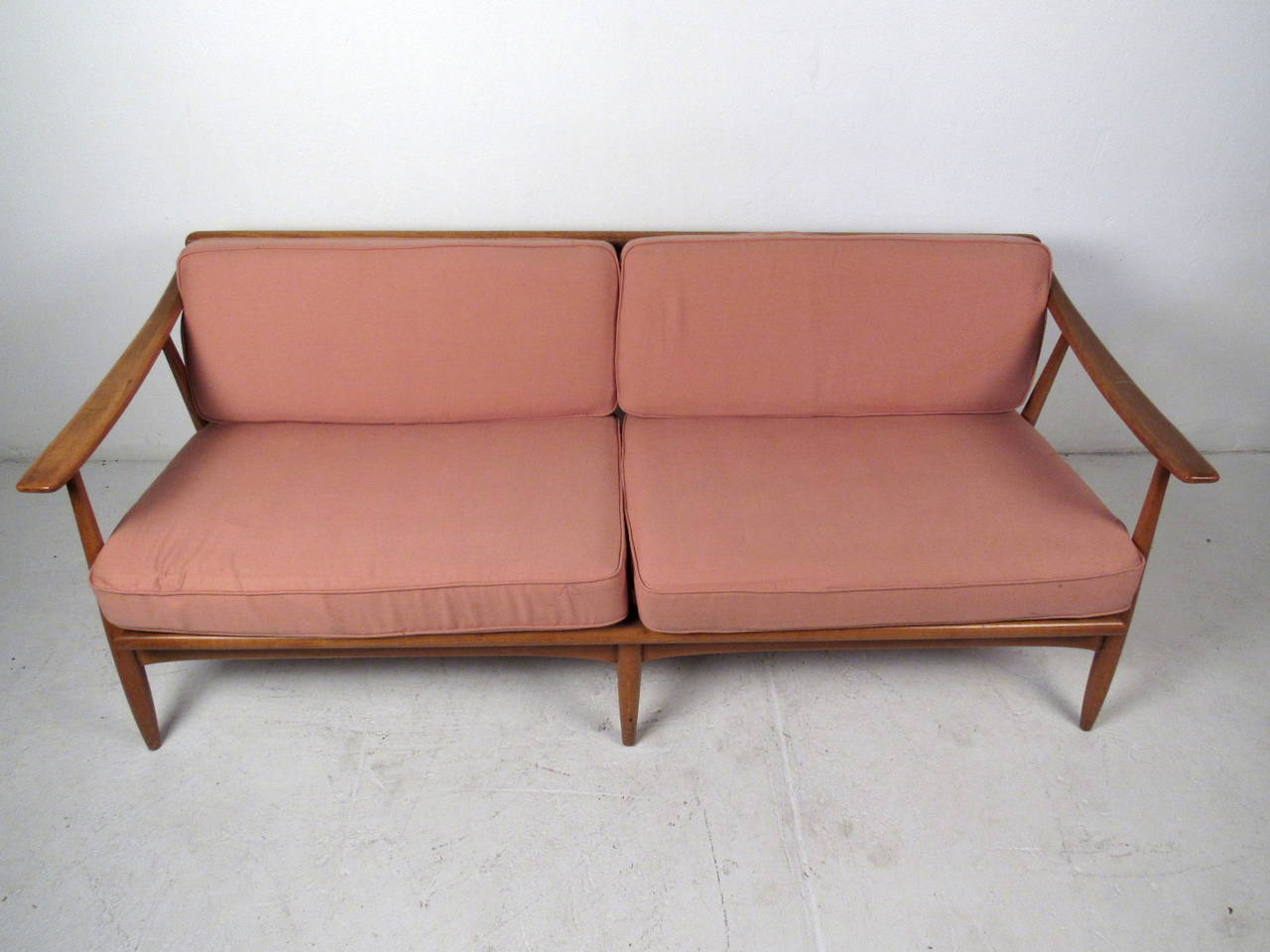 American Vintage Modern Walnut Sofa For Sale