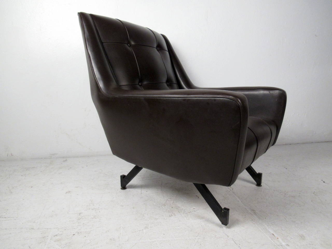 Mid Century Modern Brown Tufted Vinyl Lounge Chair For