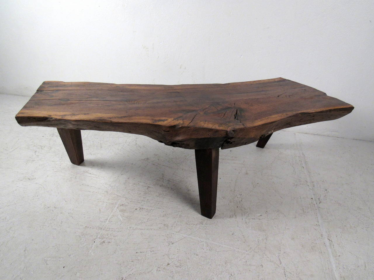 Free edge rustic tree slab coffee table at 1stdibs for Tree coffee table