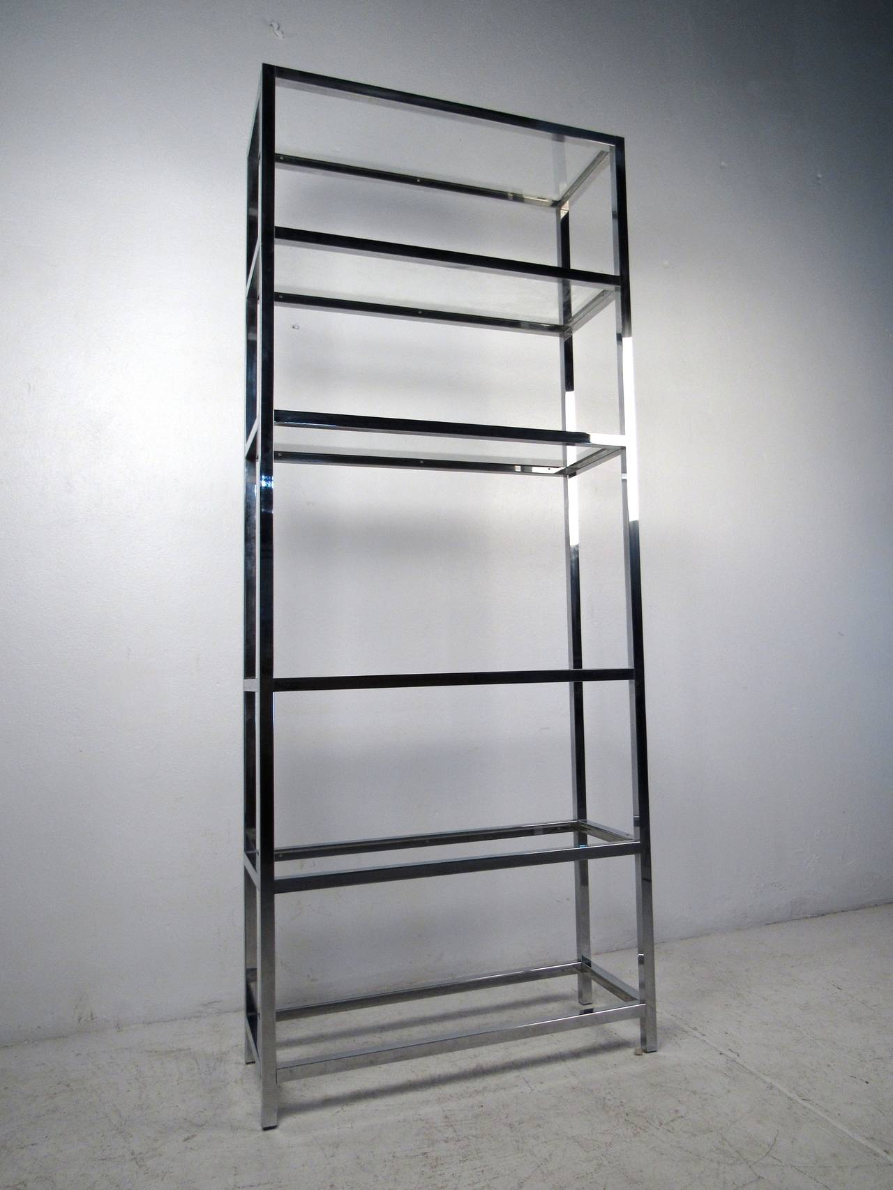 mid century modern chrome and glass etagere for sale at 1stdibs. Black Bedroom Furniture Sets. Home Design Ideas
