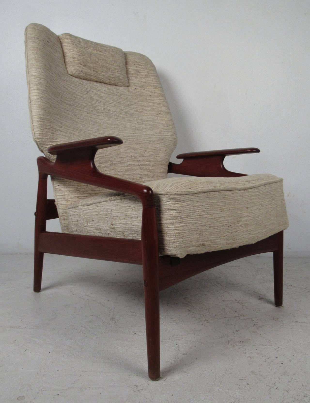 Danish Modern Reclining Lounge Chair and Ottoman For Sale at 1stdibs