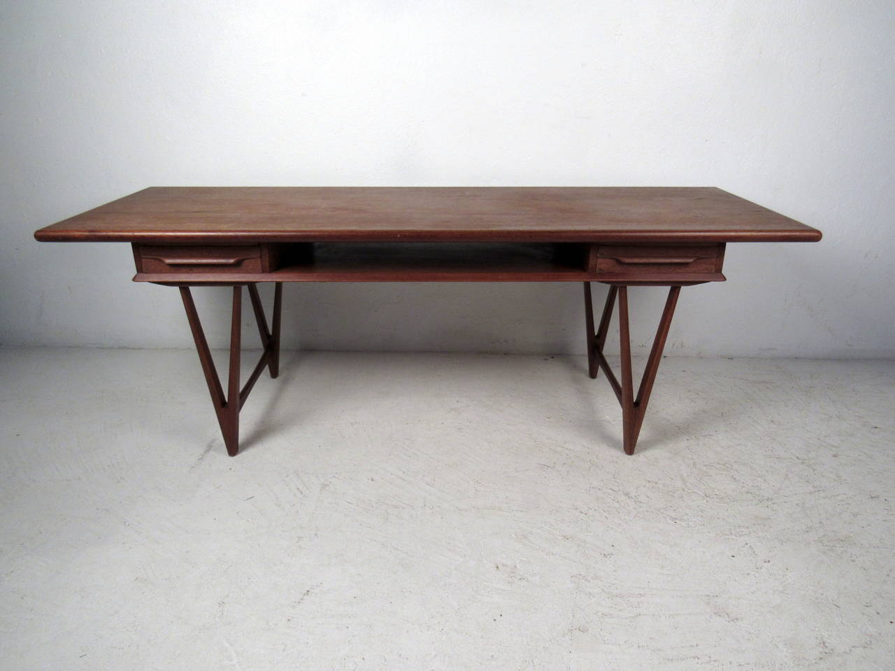 Danish Modern Teak Coffee Table with Two Drawers by E W