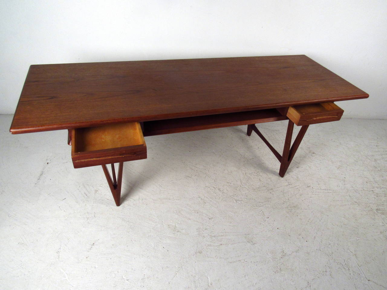 Danish Modern Teak Coffee Table With Two Drawers By E W Bach For Sale At 1stdibs