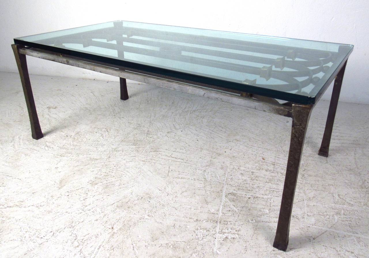 Industrial Style Iron Gate Style Coffee Table With Thick Glass Top. Perfect  Rectangular Cocktail Table