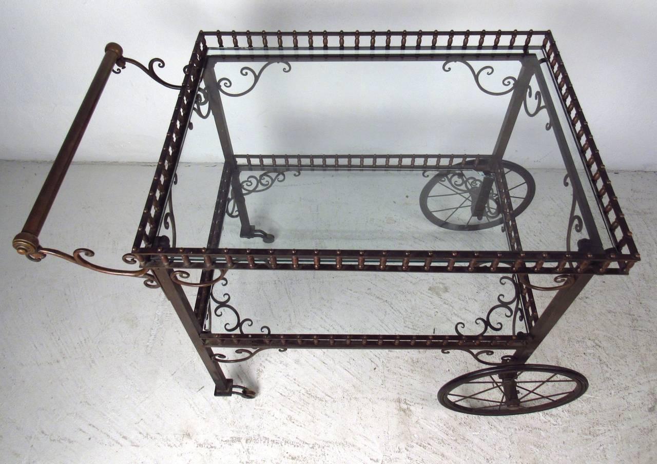 Mid-Century Modern Ornate Vintage Bar or Tea Cart For Sale