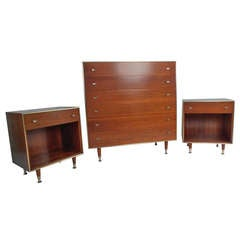 Mid-Century Modern R-Way Walnut Bedroom Set Highboy Dresser Pair ...