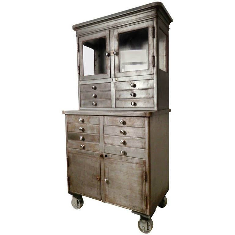 Large Early 20th Century Rolling Cabinet At 1stdibs