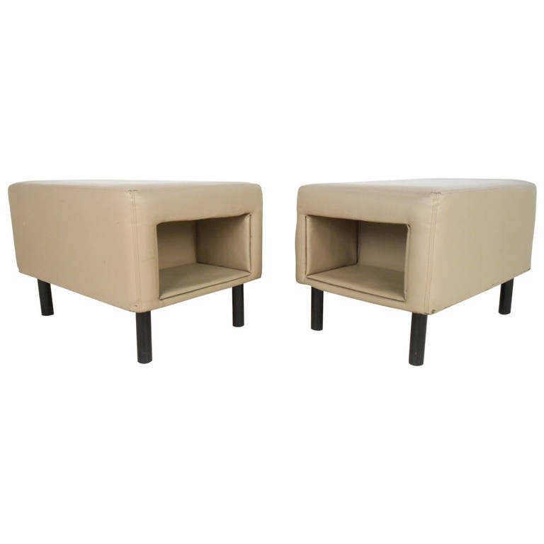Pair of Mid-Century Modern Vinyl Storage Ottomans For Sale