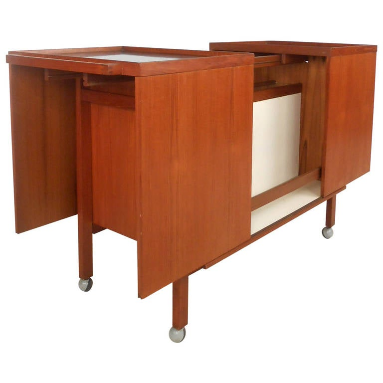 mid century danish teak bar cart by niels erik glasdam. Black Bedroom Furniture Sets. Home Design Ideas