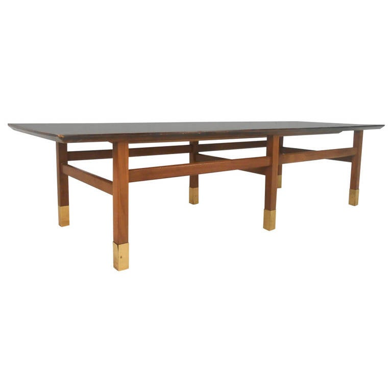 Unusual Mid Century Modern Walnut And Brass Coffee Table For Sale At