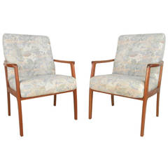 Vintage Modern Teak Frame Side Chairs