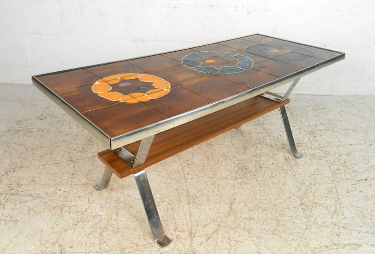 unique mid century tile top coffee table for sale at 1stdibs. Black Bedroom Furniture Sets. Home Design Ideas