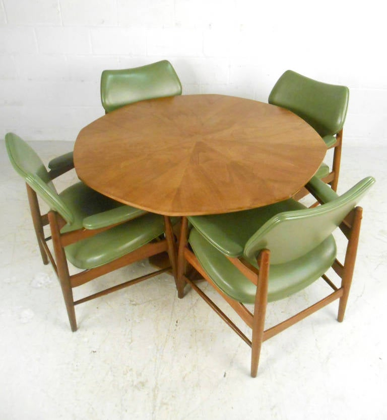 Unique mid century danish dining table with chairs for for Unusual dining tables for sale