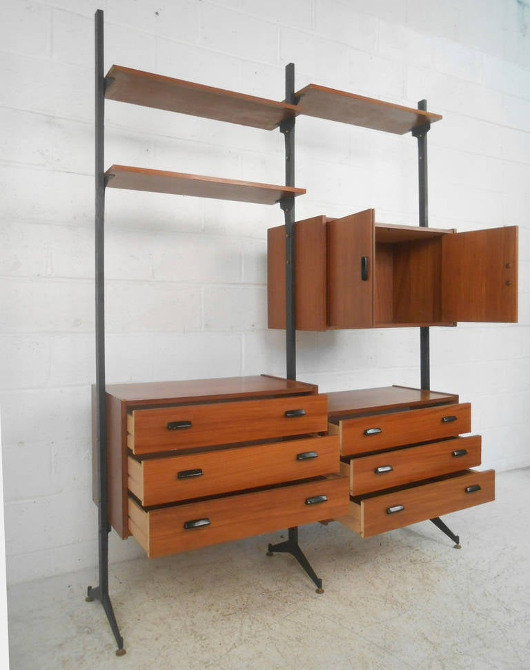 Mid Century Modern Italian Teak Freestanding Wall Unit at