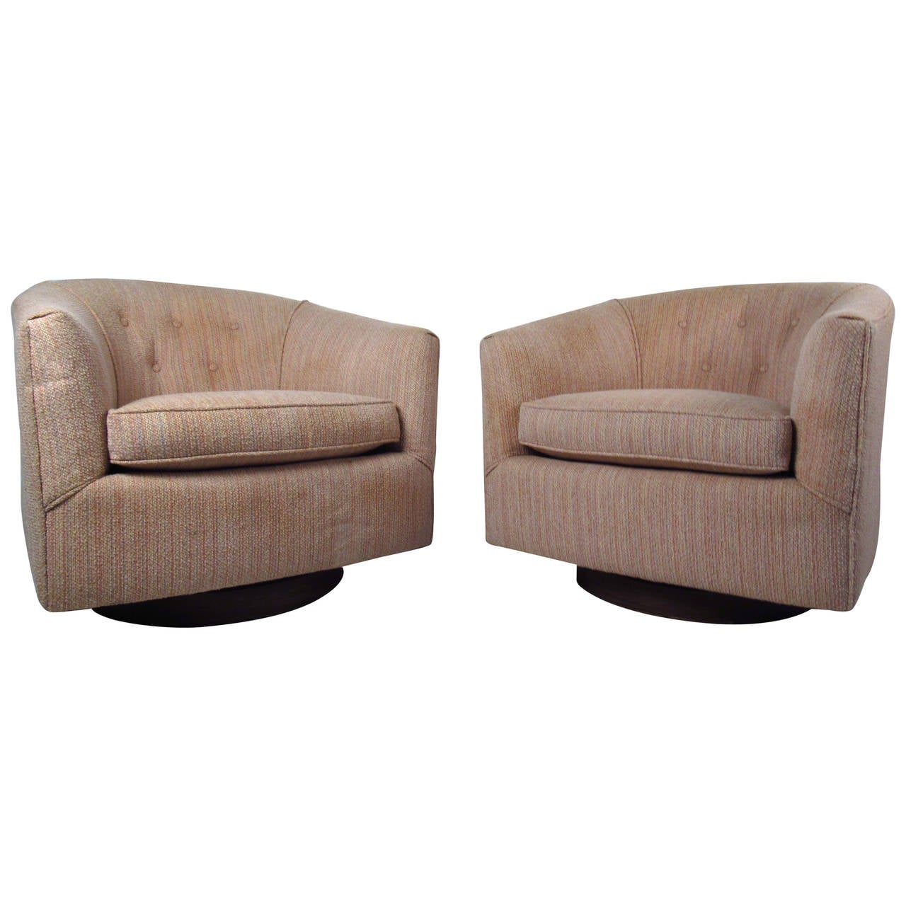 Pair of Mid Century Milo Baughman Style Swivel Lounge Chairs