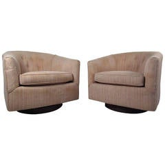 Midcentury Swivel Lounge Chairs after Milo Baughman