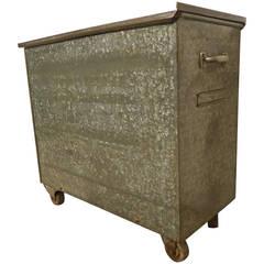 Vintage Galvanized Metal Trash Cart