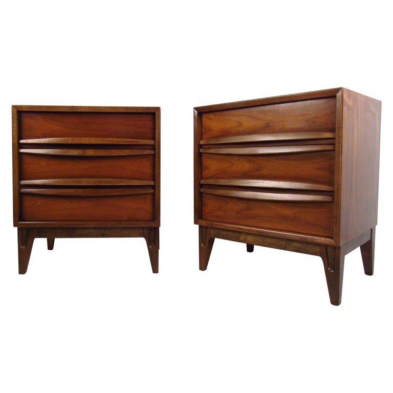 Pair of Midcentury Curved Front Nightstands For Sale