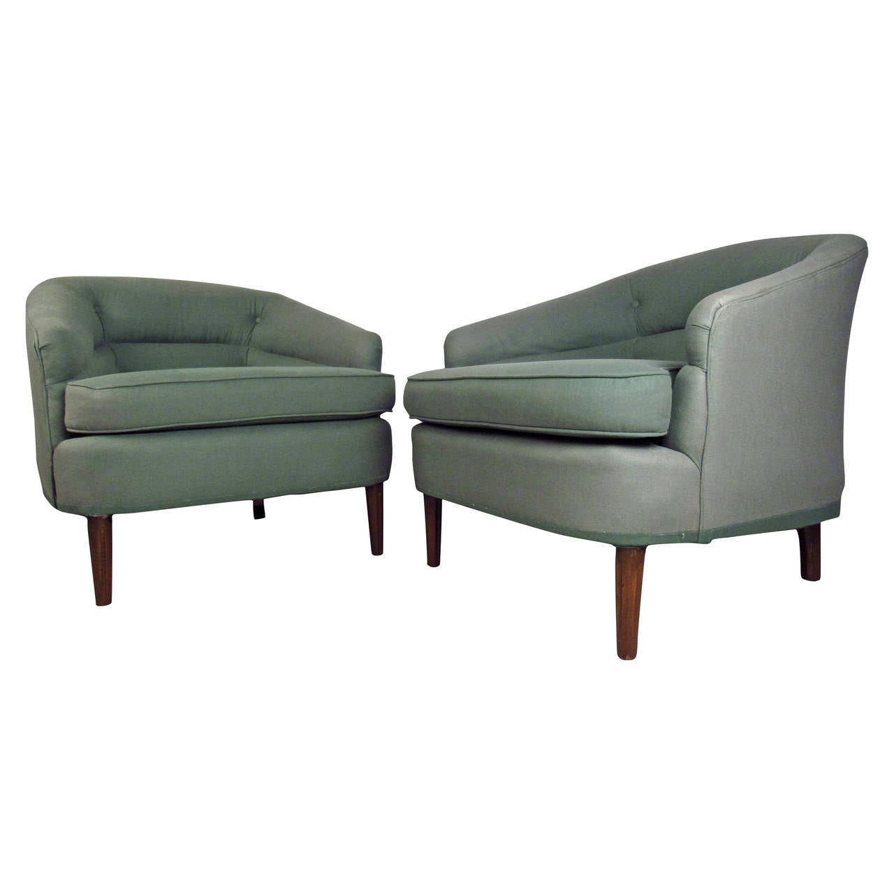 Pair of mid century modern upholstered lounge chairs at for Mid century modern upholstered chair
