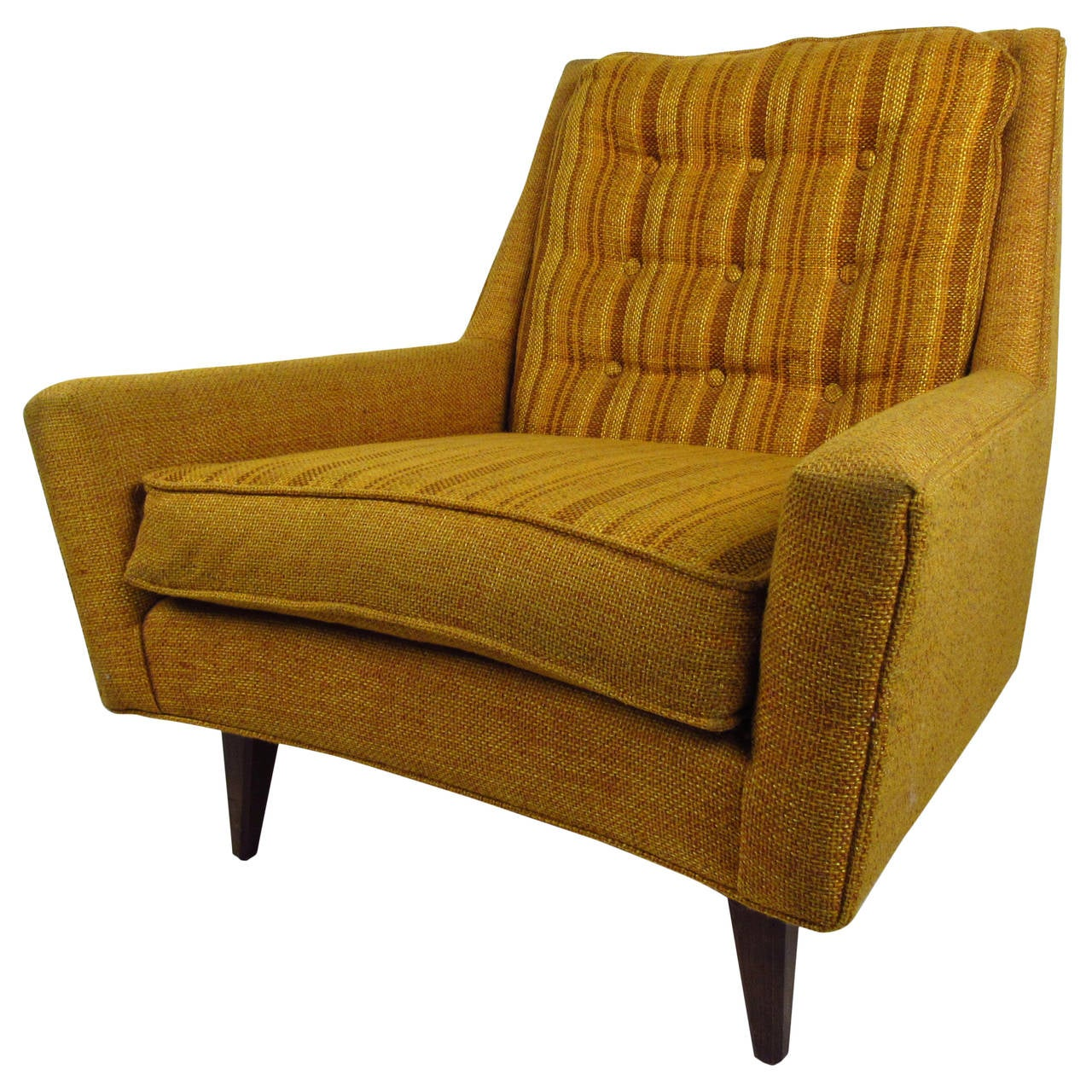 Mid Century Modern Upholstered Lounge Chair With Tufted Back