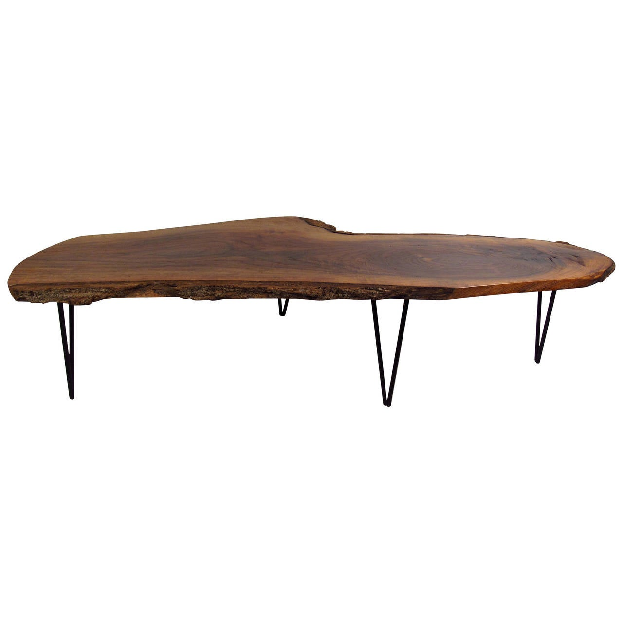 Live Edge Slab Table With Hairpin Legs At 1stdibs: one of a kind coffee tables