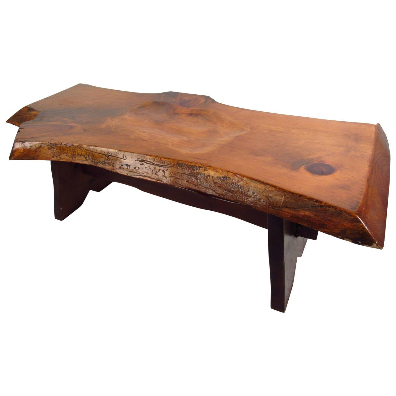 Vintage Rustic Freeform Tree Slab Coffee Table For Sale At: Live Edge Slab Bench For Sale At 1stdibs