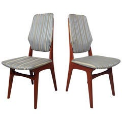 Pair of Teak High Back Chairs