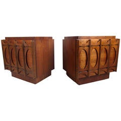 Pair of Brutalist Modern Sculpted Front Nightstands