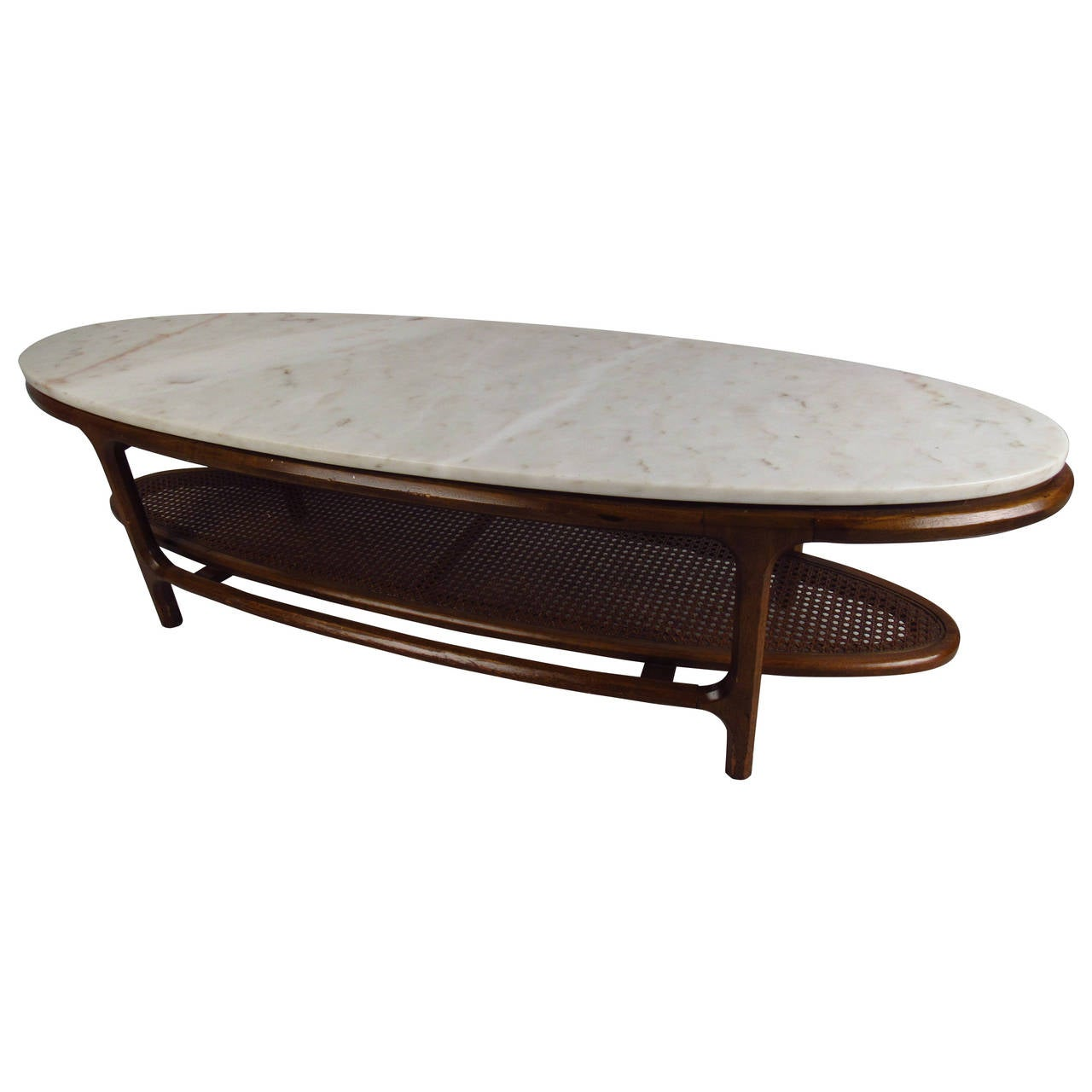Mid Century Modern Marble Top Coffee Table With Cane Shelf For Sale