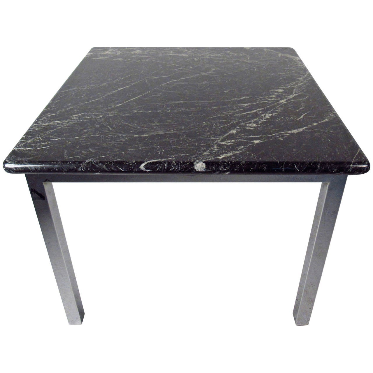 Mid century modern marble and chrome table at 1stdibs for Modern marble dining table