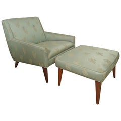 Midcentury Lounge Chair with Matching Ottoman