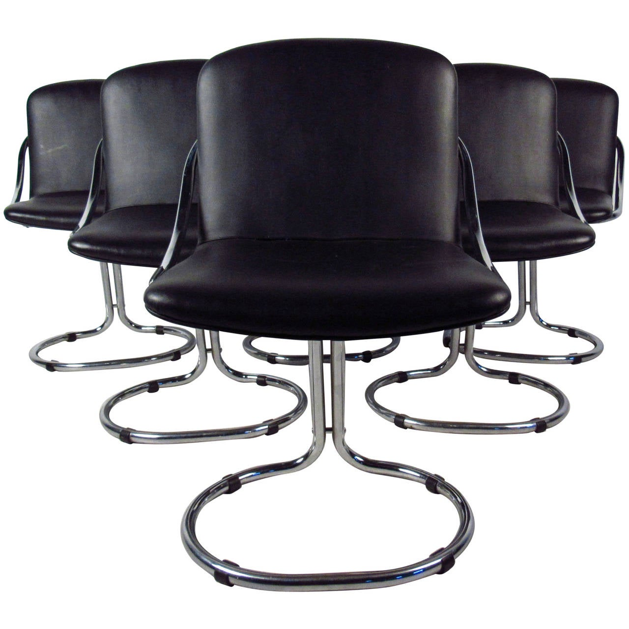 Modern chrome and vinyl dining chairs for sale at 1stdibs for Modern chrome dining chairs