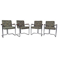 Modern Set of Tubular Steel Dining Chairs