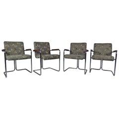 Modern Set of Tubular Steel Dining Chairs