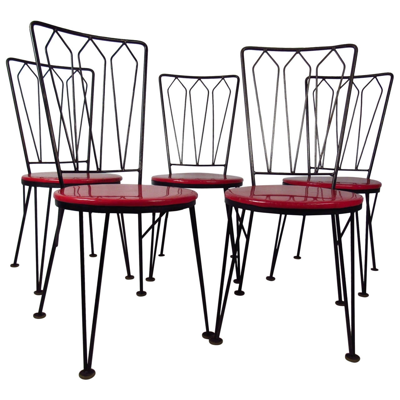 Stylish Vintage Metal Dining Chairs Circa 1950s For
