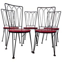 Stylish Vintage Metal Dining Chairs, circa 1950s