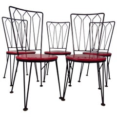 Stylish Vintage Metal Dining Chairs, circa 1950s