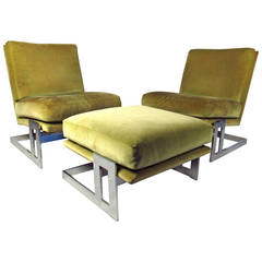 Vintage Milo Baughman Lounge Chairs and Ottoman for Thayer Coggin