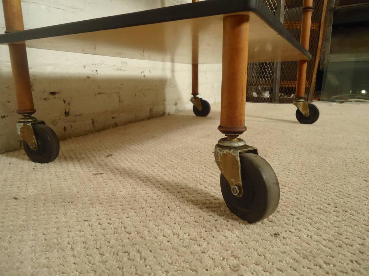 Midcentury Rolling Bar Cart At 1stdibs