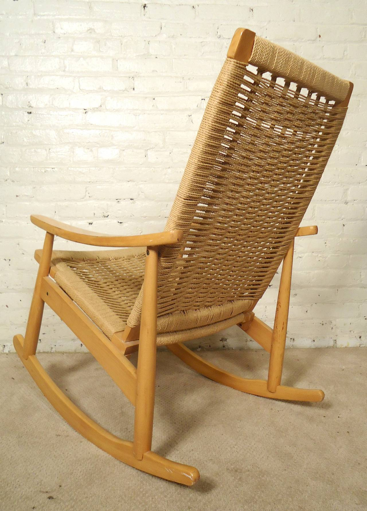 Hans Wegner Style Rope Rocking Chair at 1stdibs