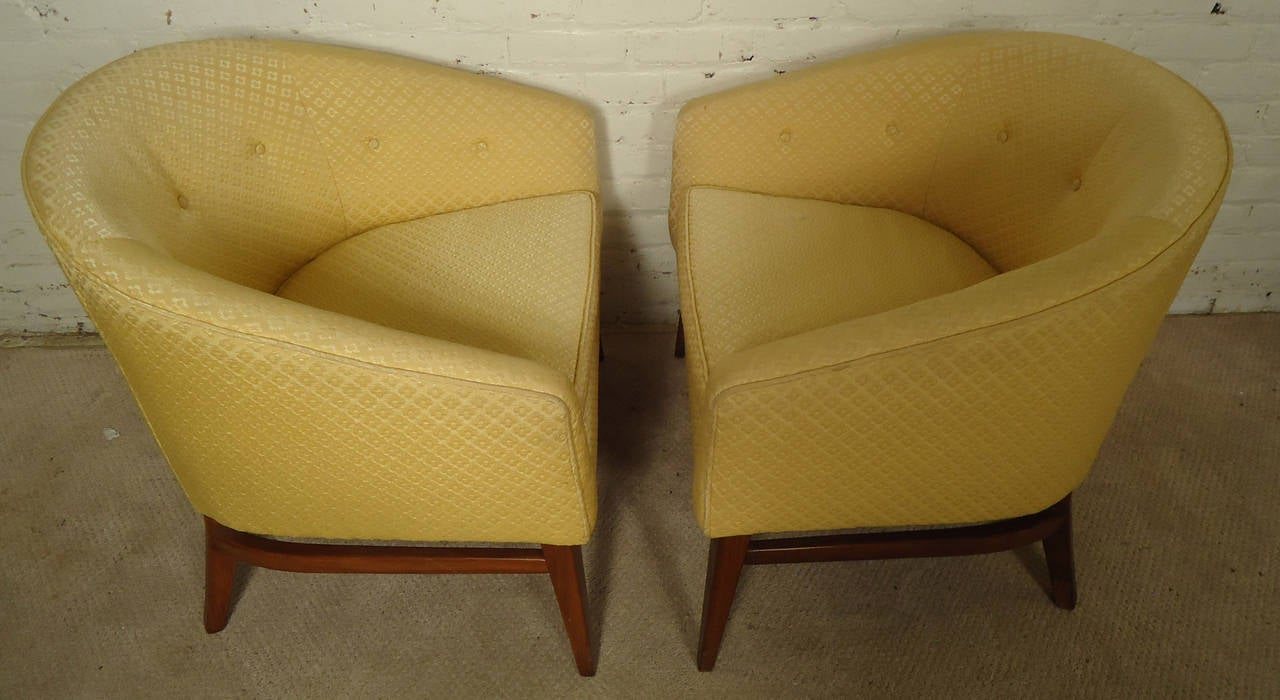 Pair of midcentury upholstered barrel back chairs for sale at 1stdibs