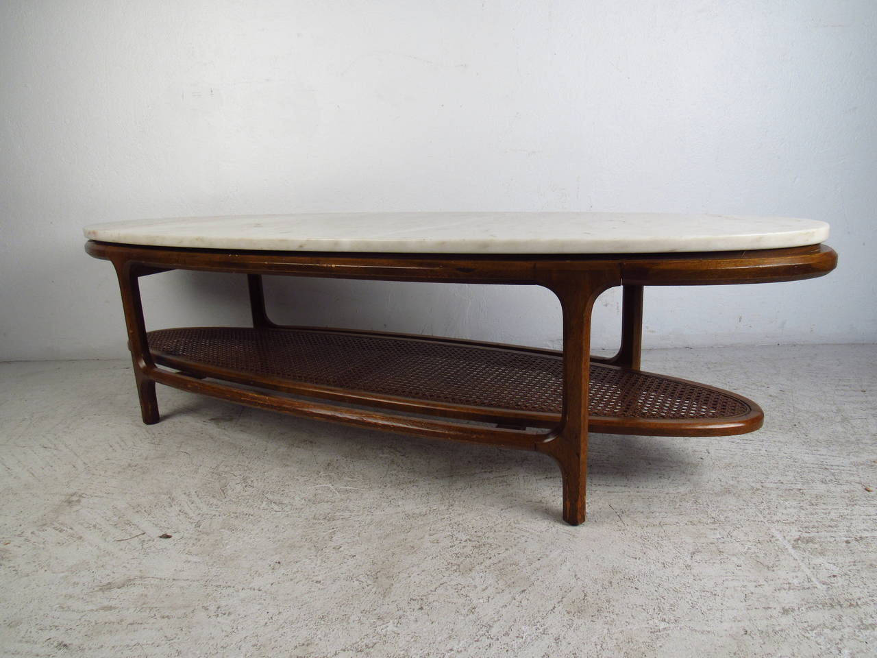 MidCentury Modern MarbleTop Coffee Table with Cane Shelf For Sale
