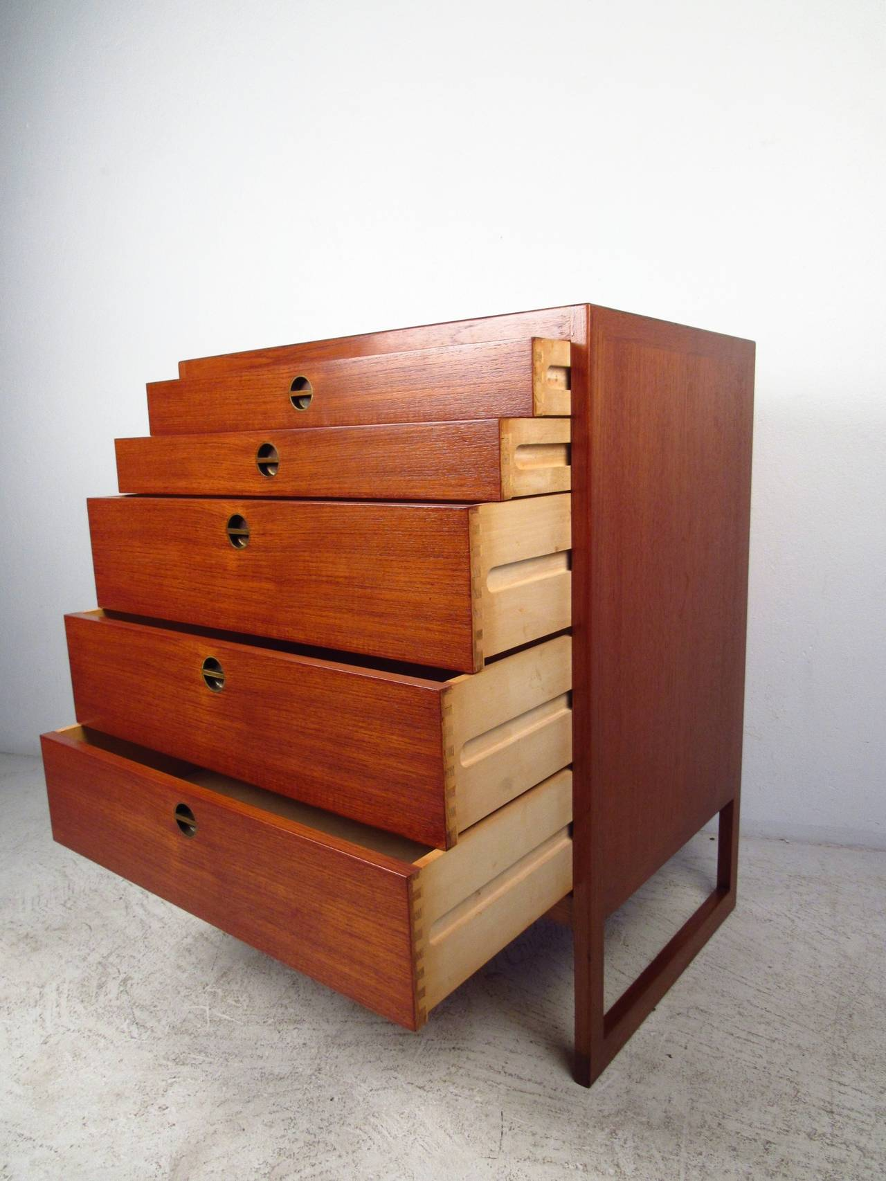 Danish modern five drawer chest at stdibs