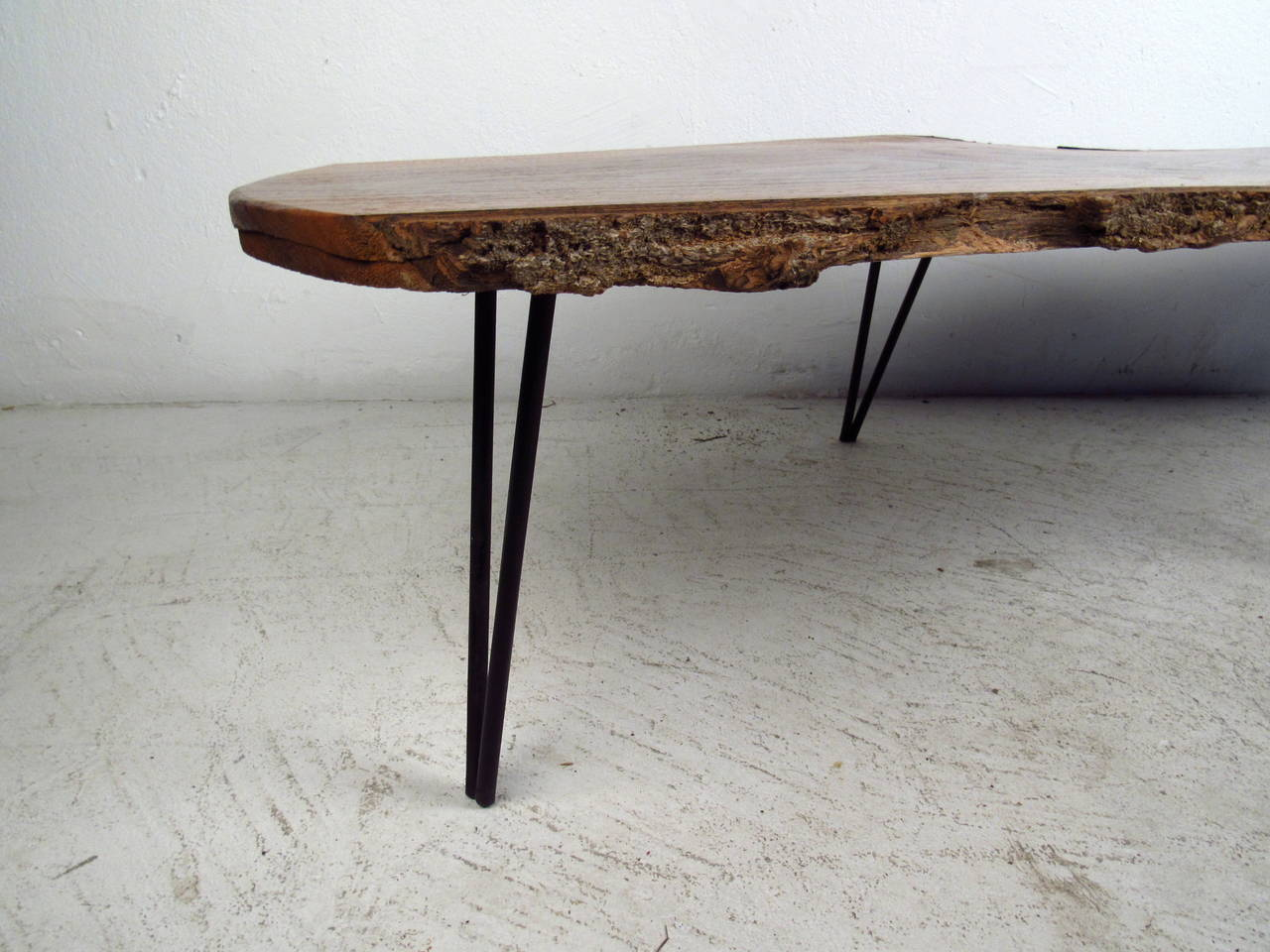 Live Edge Slab Table with Hairpin Legs at 1stdibs