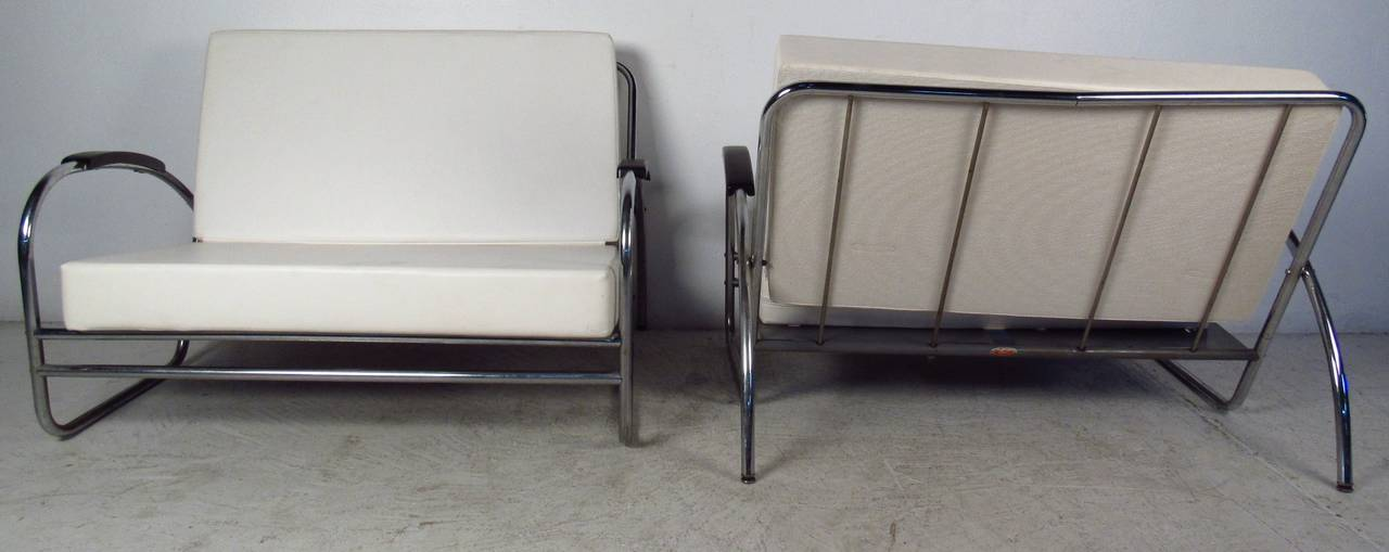 American Pair of Vintage Modern Oversized Lounge Chairs by Royal Metal For Sale