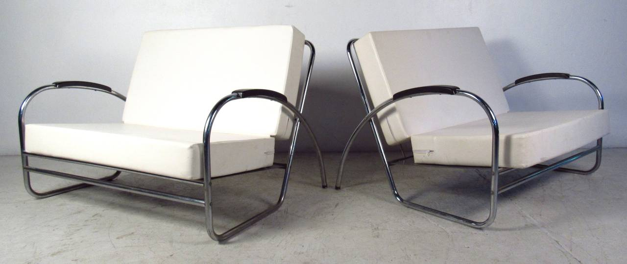 Industrial Pair of Vintage Modern Oversized Lounge Chairs by Royal Metal For Sale