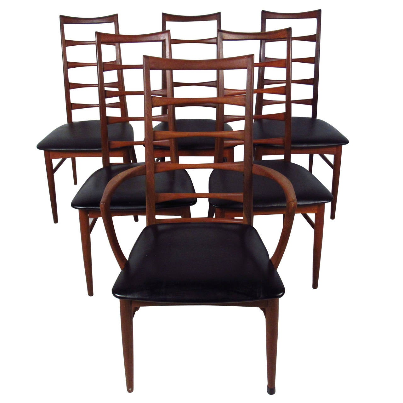Set of ladder back dining chairs by koefoeds hornslet for Ladder back chairs