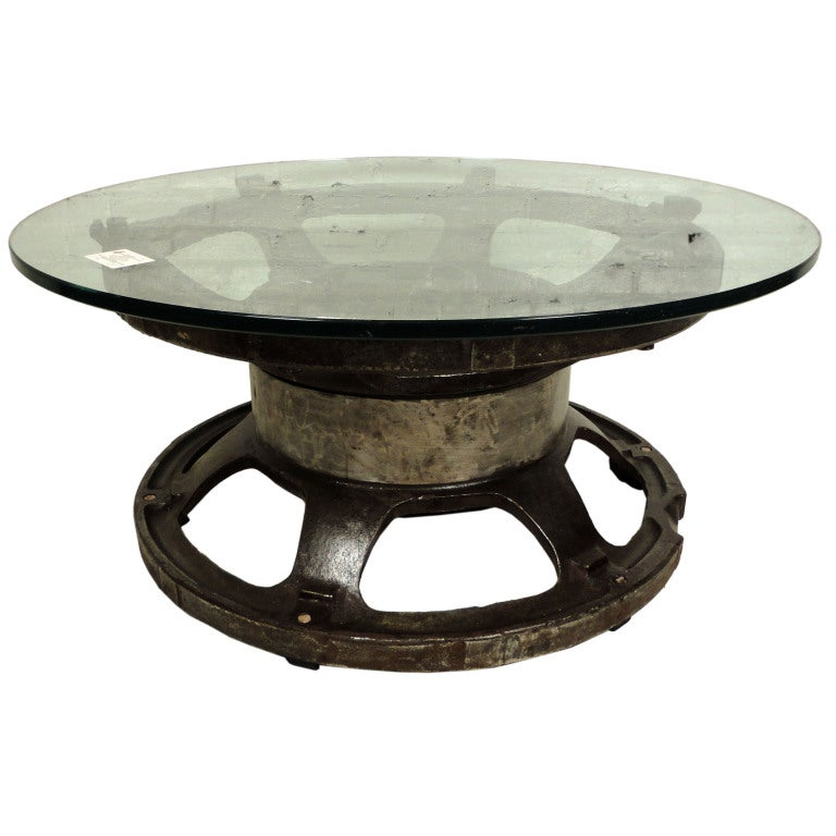Coffee Table With Wheel Industrial Tractor Wheel Coffee Table At 1stdibs Edison Coffee Table